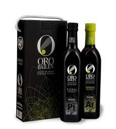 1.Aukščiausios kokybės pirmojo spaudimo alyvuogių aliejus Oro Bailen.Estuche 2 botellas 750 ml.