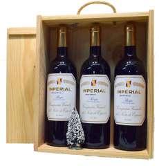 Raudonas vynas 3 Imperial  en caja de madera