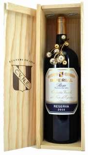 Raudonas vynas Magnum Imperial  en caja de madera